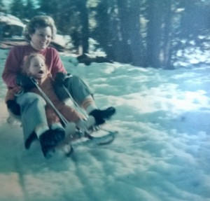 Mom and I Sledding, Big Bear Lake, Circa 1977