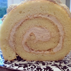 Chiffon cake in a lovely spiral around the light, sophisticated blend of whipped cream, espresso, and Kahlua.