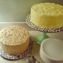 Party anyone? On the left, a chocolate sour cream cake with espresso caramel buttercream and espresso salt. On the right, Jules' Lemon Cake. lemony white cake soaked in lemon syrup, lemon cream filling, and lemon curd buttercream.