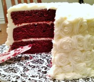 Soft, lightly chocolate, deep vermillion layers of red velvet cake draw a stark and lovely contrast with the sweet ivory of rich cream cheese frosting.