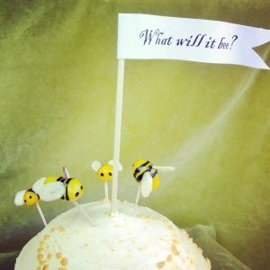 On this gender reveal cake, these busy bees circle a pennant asking a mischievous question: what will it bee?